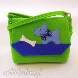 ręcznie robione torebka z filcu dla dziewczynki - zielona pieskiem