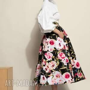 sukienki czarna spódnica midi w kwiaty, midi, bawełna, uniwersalna