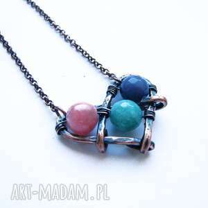 serducho - serce, boho, kamienie, miedź, wisior, łańcuszek