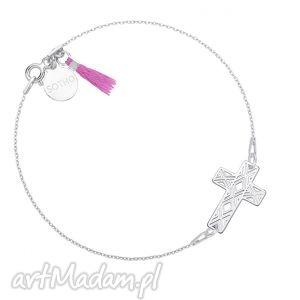 srebrna bransoletka z krzyżykiem zdobiona fioletowym, chwost