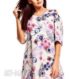 sukienka trapezowa juliet kwiaty 030, trapezowa, oversize