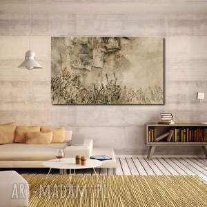 obrazy obraz łąka 1 - 120x70cm do salonu brąz beż abstrakcja