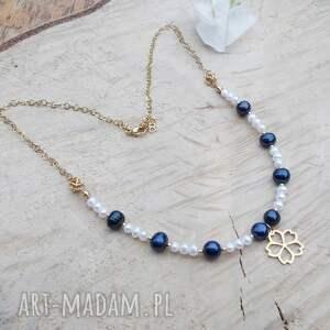 naszyjniki perłowo granatowo - naszyjnik, stal szlachetna, biżuteria ze stali