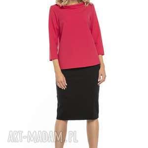 bluzki bluzka z kołnierzem w stylu jackie kennedy, t243, czerwony, elegancka