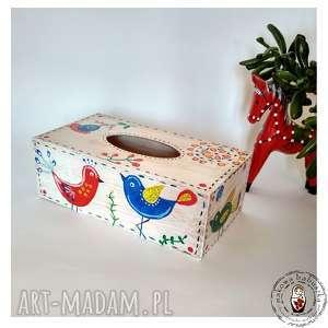 handmade pudełka chustecznik ptaszki folk
