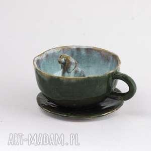Prezent Ceramiczna duża filiżanka kubek z figurką psa, zwierzaka 99 zł,