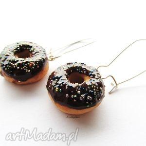 hand-made kolczyki kolczyki donut z czekoladą