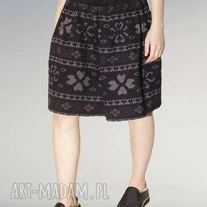 spódnice spódnica z zakładkami we wzór bawełny, nadruk, wzór, midi, zakładki, aztec