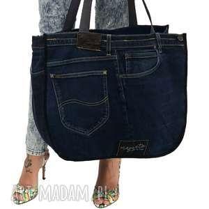 handmade na ramię duża torba upcykling jeans 40 lee od majunto