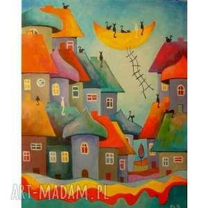 obraz na płótnie - bajk0we miasteczko kotów 40/50 cm, abstrakcja, turkus, akryl