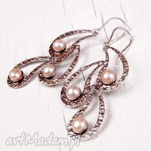 A425 Perłowe pióra kolczyki srebrne, kolczyki, kobiece, oryginalne, wiszące
