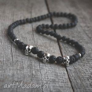 handmade męska naszyjnik męski :: black lava & skulls ii