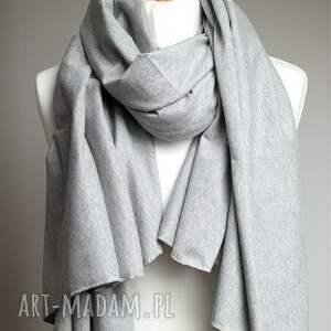 duży obszerny szal bawełniany - szary - szal, szalik, chusta, bawełna, eko