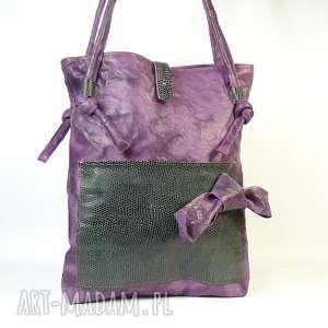 na ramię torebka skórzana z kokardą fiolet zielenią, torebka, pojemna