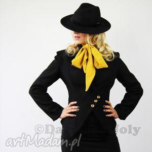 marynarki czarny asymetryczny zakiet damski, zakiet, czarny, dagmarajoly