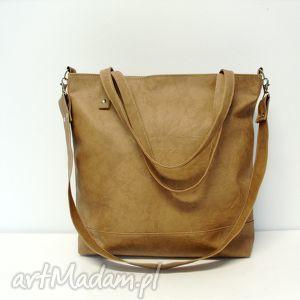 Shopper bag, torba, modna, wygodna, uniwersalna, szyta, karmelowa