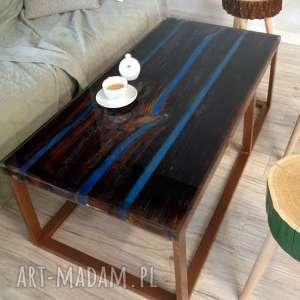 stolik kawowy ze starych desek i żywicy, stare deski, kawowy, ława, stół