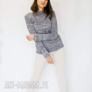 swetry półgolf szaro-różowy, sweter damski z wełny, golf
