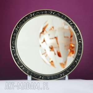 blanka atelier lustro okrągłe w cynowej ramie vintage, okrągłe, ramie
