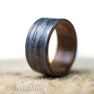 obrączka pierścionek z drewna dąb szary i buk - obrączka, pierścionek