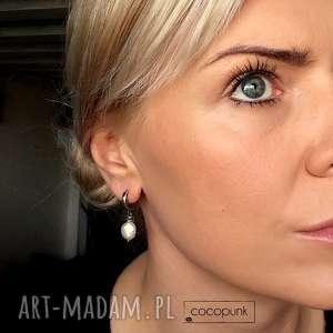 delikatne kolczyki z perłami - srebro 925 - minimalistyczne, srebrne