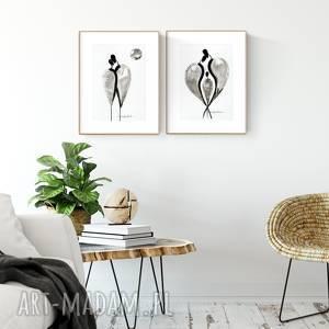 zestaw 2 grafik A4 wykonanych ręcznie, abstrakcja, elegancki minimalizm, obraz do
