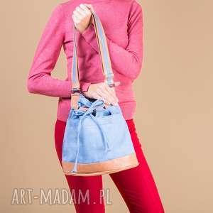 handmade na ramię yocca - torba worek - niebieska