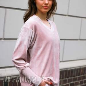 handmade sportowe mega wygydna bluza welurowa damska w kolorze różowym lona