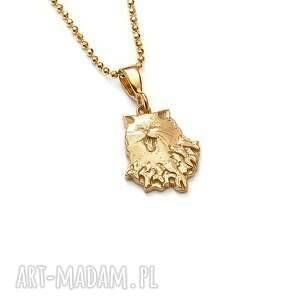 handmade wisiorki mini wisiorek z kotem pozłoconego srebra