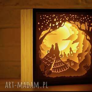 papierówka-dachowców dwóch -podświetlana dekoracja 3d, obraz led, 3d
