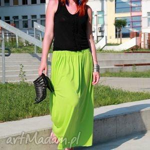 hand-made spódnice spódnica /sukienka lejąca się maxi limonka