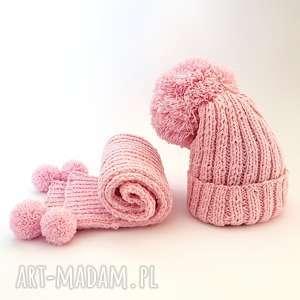 HANDMADE Dziecięcy komplet wełniany CZAPKA SZALIK (Wełna merynosa), czapka, szalik