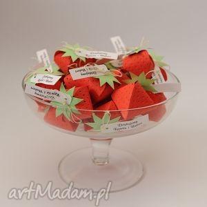 handmade zaproszenia podziękowania dla gości wesele truskaweczki