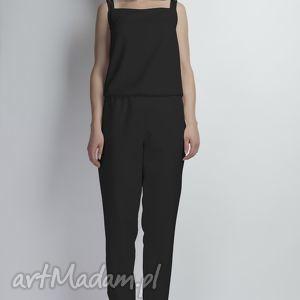 Kombinezon na ramiączkach, KB103 czarny, szelki, ramiączka, plecy, spodnie, czarny