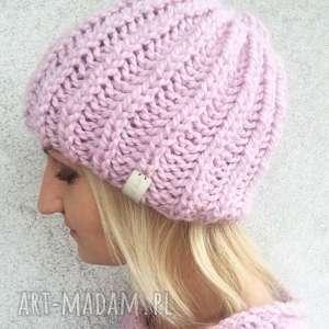 ciepła czapka z alpaki - czapka, wełniana, nadrutach, prezent