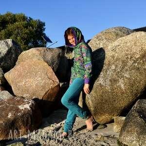 handmade dres dla dziewczynki 146 -158 cm - pawie pióra