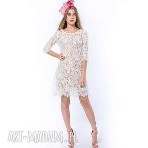 Królowa Śniegu - koronkowa sukienka ecru, sukienka, koronkowa, ślubna