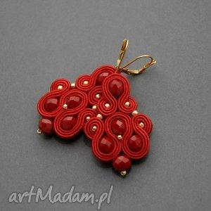 czerwone kolczyki / klipsy sutasz, sznurek, klipsy, eleganckie, wieczorowe, wiszące