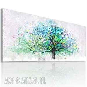 Obraz drukowany na płotnie z kolorowym abstrakcyjnym drzewem, format 150x60cm