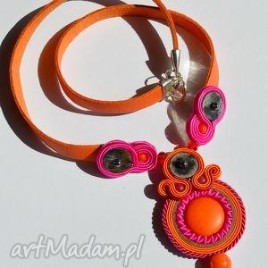Pink and orange - naszyjnik soutache, skóra, sutasz, howlit, jadeit, marmur