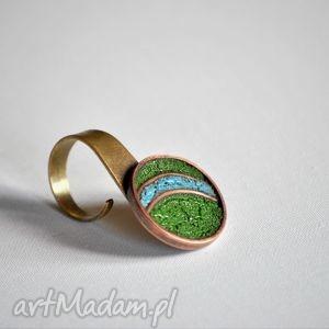 kijanka, mosiądz, miedz, emalia, pierścionek pierścionki biżuteria