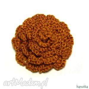 aurelia - broszka szydełkowa - prezent, szydełkowe, kwiat, ozdoba, dekoracja