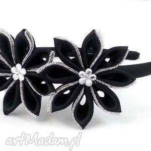 czarno-srebrny komplet do włosów - opaski, opaska gumki