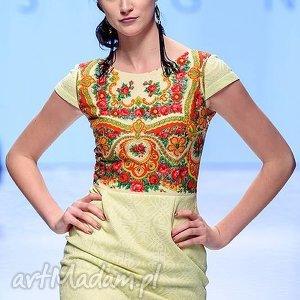 koronka limonkowa sukienka folk design aneta larysa knap góralska