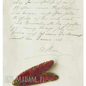 handmade broszki broszka owad bordowa