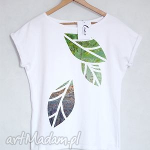 LISCIE koszulka bawełniana biała S/M, koszulka, bluzka, tshirt, nadruk,