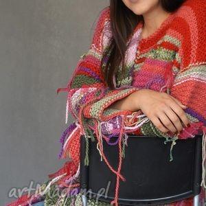 oryginalny prezent, mondu kolorowy kardigan, multikolor, dziergany, wstążki