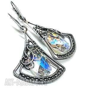 święta, swarovski-crystal, kolczyki, swarovski, crystal, kolorowy