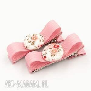 dla dziecka spinki do włosów z guziczkiem florence pink
