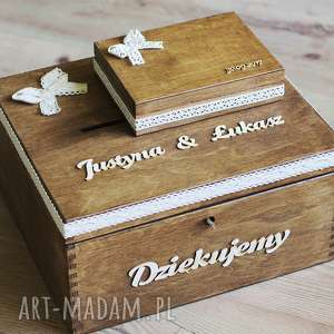 ślub zestaw pudełek - na koperty i obrączki, drewno, koronka, pudełko, obrączki